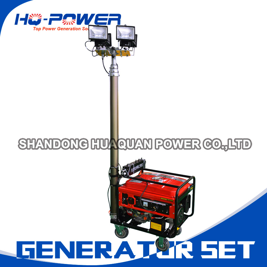 Portable Mobile Light Tower Diesel Generator 5kw For Sale