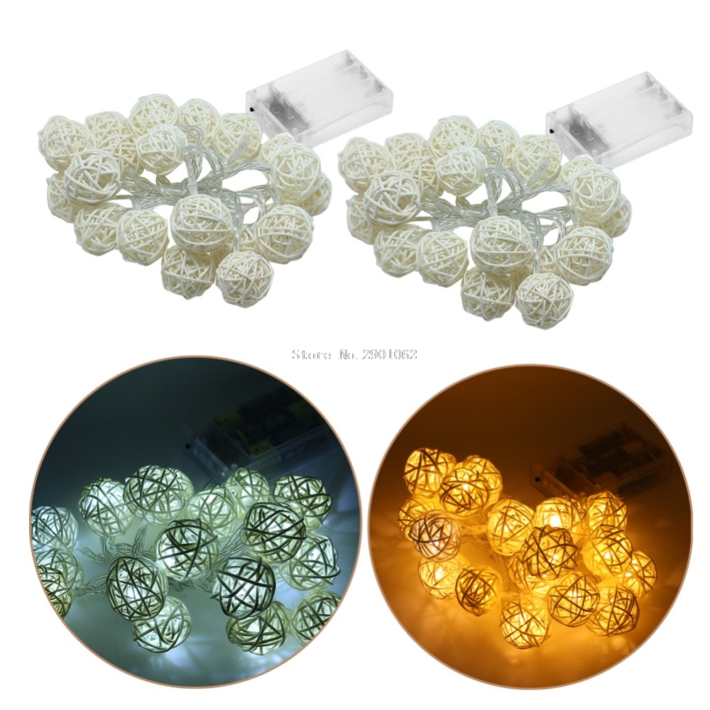 AA Battery Operated 2M 20 LED Rattan Ball Shape String Lamp Lights Wedding Christmas Holiday Party