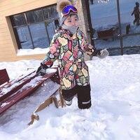 2017 Winter Children Kids girl boy outdoor skiing Snow suits jumpsuit sets children deasign detachable ski jackets pants suits