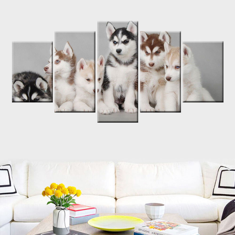 Cute Puppy Animal Poster Canvas Wall Art 5 Panel for Home Decor Children 39 s Room Unique Gift Wall Picture in Painting amp Calligraphy from Home amp Garden