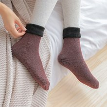 Winter Warm Women Socks Hosiery Thicken Sock Wool Home Calcetines Snow Boots Cotton Socks Female Velvet Socks(China)
