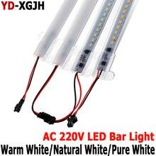 חם פין מטבח אור מומחה 220 V 2835 LED קשיח קשיח LED הרצועה בר אור + U Auminium + כיסוי led רצועה נוקשה מקורה תחת Cabine