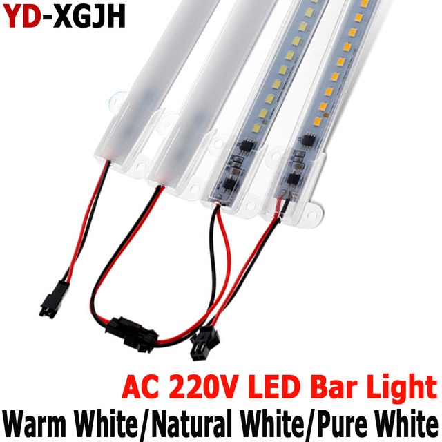 Hot pin Kitchen light expert 220V 2835 LED Hard Rigid LED Strip Bar Light +U Auminium+ Cover Led Rigid Strip Indoor Under Cabine