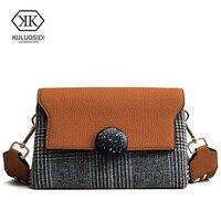 KULUOSIDI Brand New Winter Wool Leather Handbags Women Vintage Small Flap Bag Striped Female Shoulder Bags