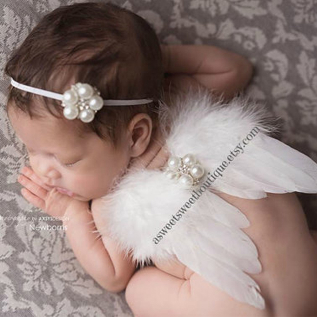 Wings and Pearl Headwear Cute Newborn Baby Girl Lace Big Flower Headband Accessories White Pearls Hair Band Hair Headwear