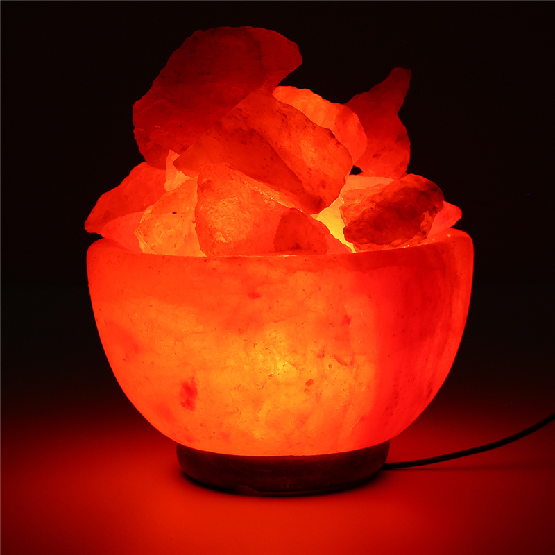 Night Light 110V Hand Carved Natural Salt Rock Crystal Himalayan Tea Light Attractive Air Purifying Night Lamps For Bedroom