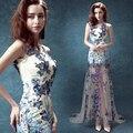 Luxury Dress 2016 New Summer Slim High Quality Elegant Backless Mesh Flower Sequined Sleeveless Perfect Mesh Maxi Elegant Dress