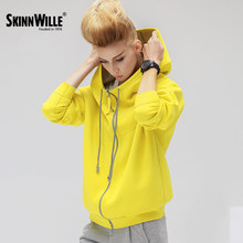 Skinnwill 2017 New Style Fashion  Cotton Solid Color Zipper Hoodies Tracksuit Women Kpop Clothes