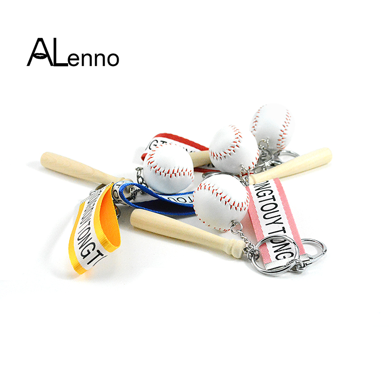 ALenno Casual Leather Baseball Keychain On A Bag Women s Men s Chain  Fashion Sporty suspension Jewelry Intimate Goods Pendants beb1e306b2