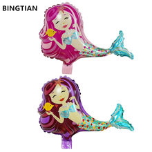 BINGTIAN mini Mermaid Theme Foil Balloons Happy Birthday Wedding Decorations Balloons Baby shower Market Activity Party Supplies(China)