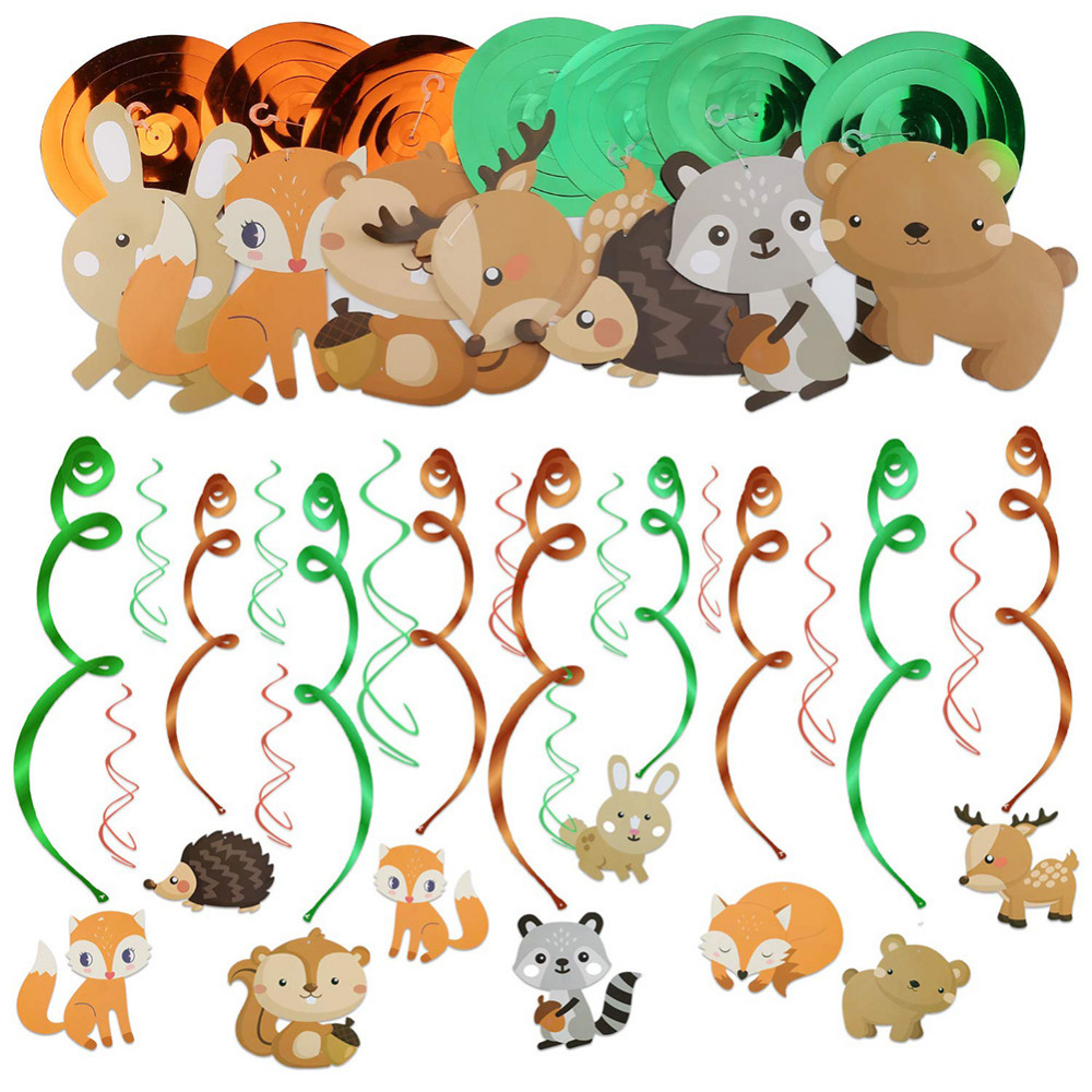 Zoo Themed Birthday Party Hanging Swirl Decorations Animal Party Ceiling Spirals Safari Baby Boy Shower Jungle Party 30pcs in Party DIY Decorations from Home Garden
