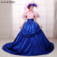 Noble Reine Bleu et Rose Royal Robes De Bal Pageant Robe Mascarade Robe De Bal Quinceanera Robe