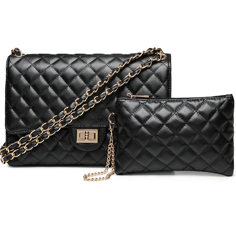 black bag Set fashion Leather flap bag Women crossbody shoulder Bags Female Purse clutch diamond office Lady caviar hand bag black studded flap crossbody bag page 9