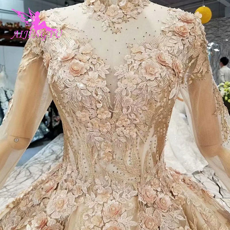 AIJINGYU Women's Wedding Dresses Robe Size Plus Lace Marvel Beads Ready Made Vintage Country Gown Wedding Gowns