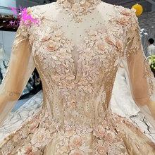 AIJINGYU المرأة الزفاف فساتين رداء حجم زائد الدانتيل أعجوبة الخرز الجاهزة خمر البلاد ثوب الزفاف أثواب