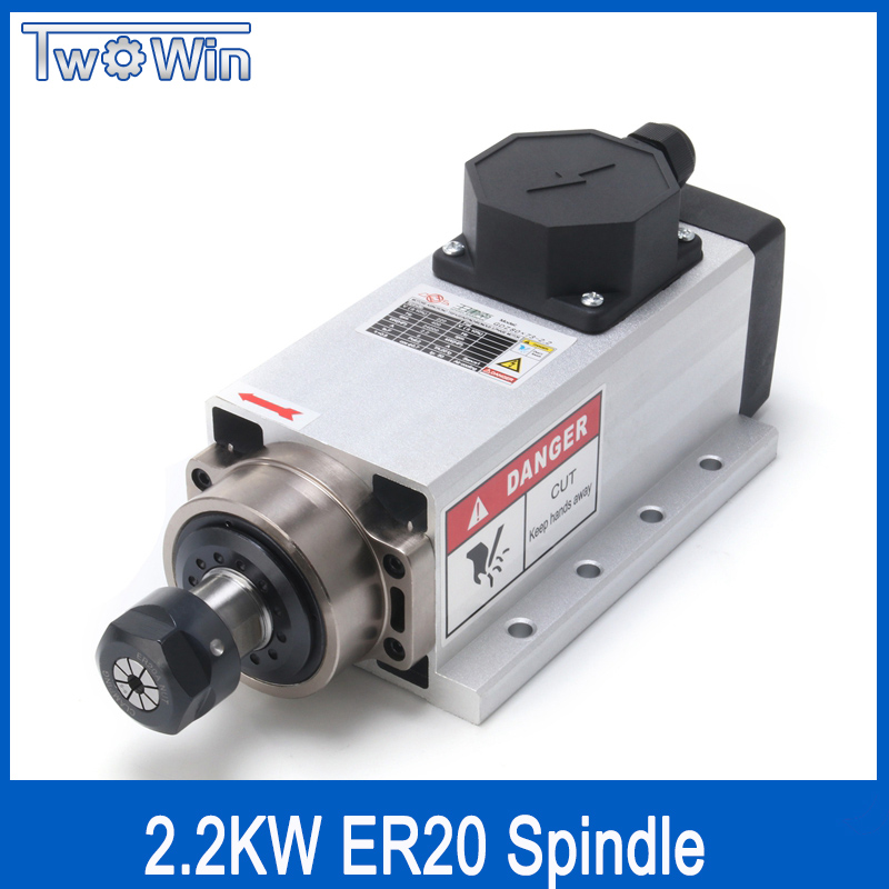 2.2kw Air-cooled square spindle motor 220V 24000rpm ER20 runout-off 0.01mm Ceramic bearing air cooling spindle for cnc milling 2 2kw air cooled square spindle motor 220v 24000rpm er20 runout off 0 01mm ceramic bearing air cooling spindle for cnc milling