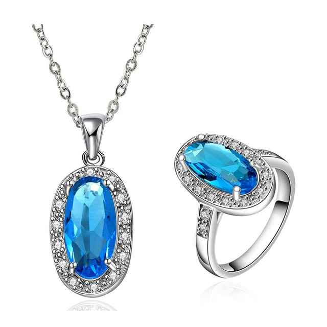 Best Friends GoldenPlated african jewelry set Blue stone jewelry meet you that day N+R Jewellry sets couponFBLS041