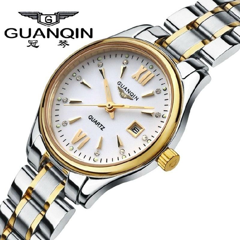 100% -os eredeti GUANQIN órák női divat alkalmi rozsdamentes acél - Női órák