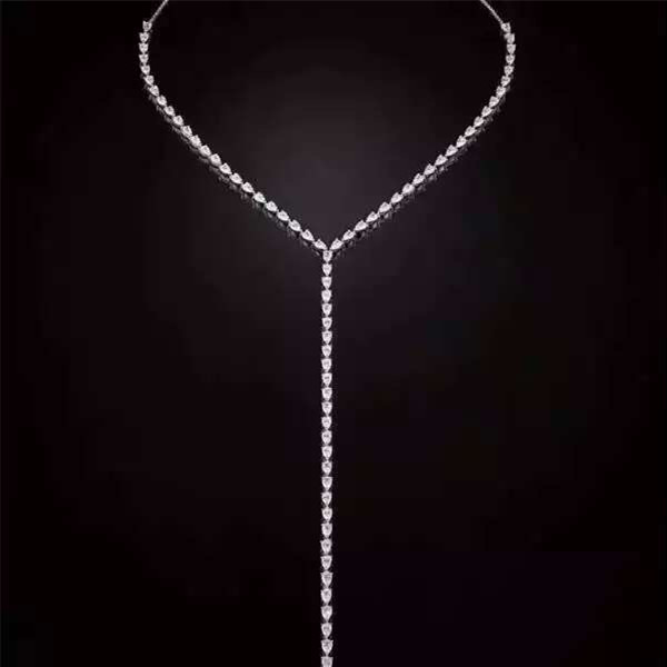 Designer mode 925 bijoux en argent Sterling 3A cubique zircone fête Long collier