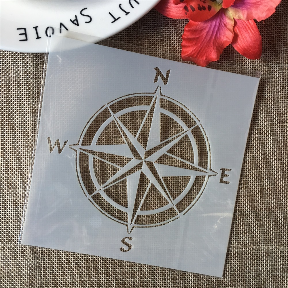 "5"" Compass Round North DIY Layering Stencils Wall Painting Scrapbook Coloring Embossing Album Decorative Paper Card Template"