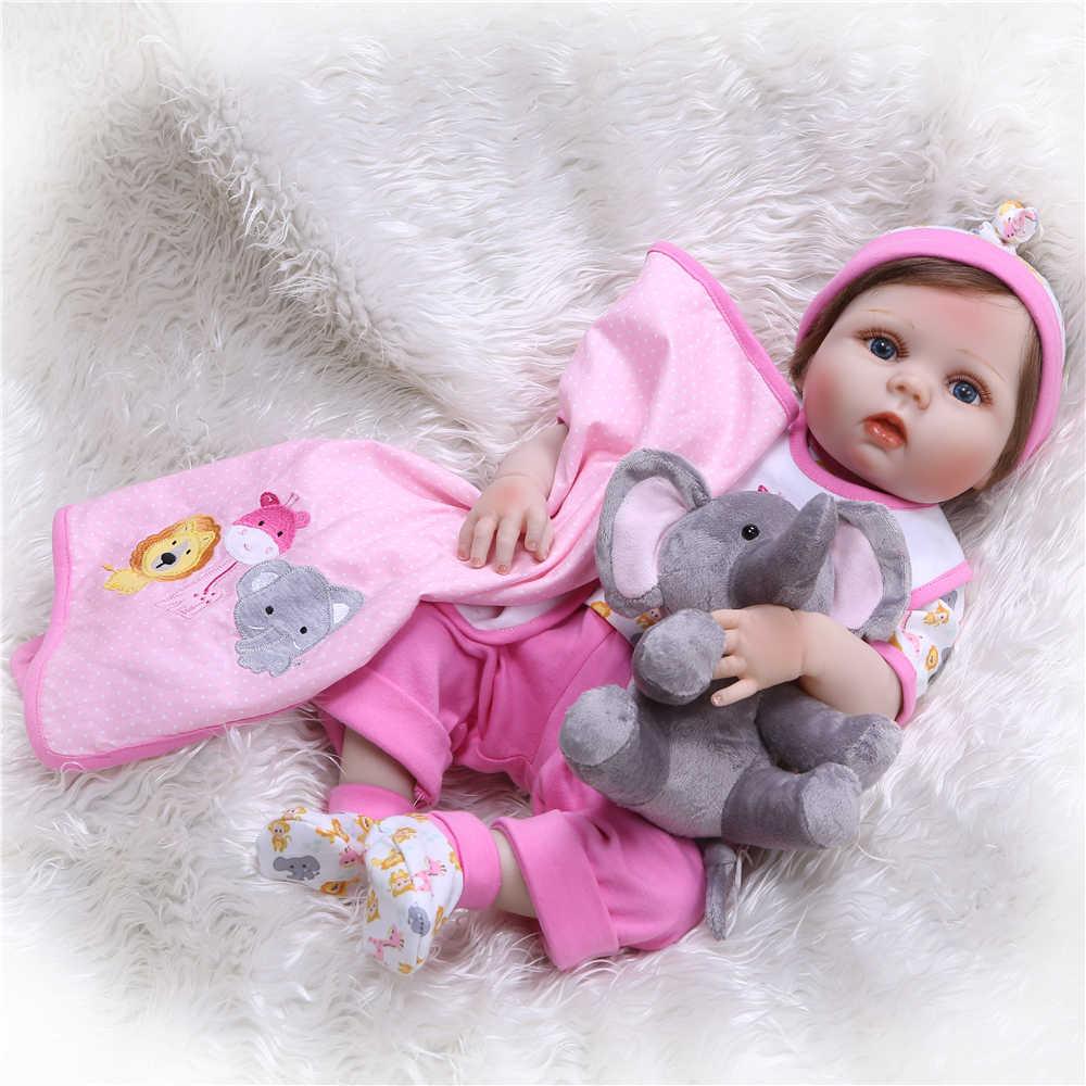 NPK Новый 55 см куклы Bebes Reborn Реалистичная полная силиконовая девочка bby кукла с милыми плюшевыми игрушками живой ребенок Куклы как девушки Playmates