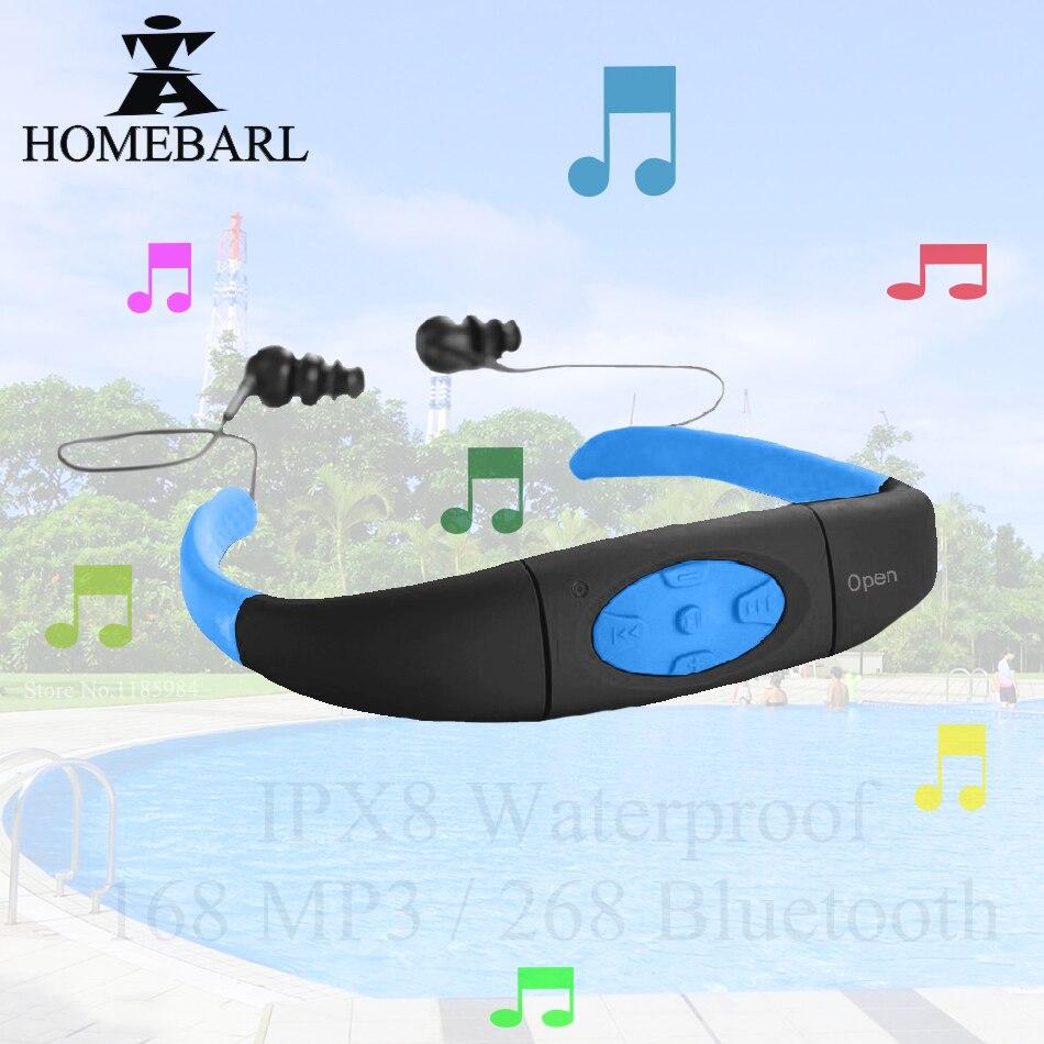 (268 IPX8 Waterproof Bluetooth 4.0 ; 168 4GB 8GB MP3 Player FM Radio ) Swimming Diving Underwater Sport Swim Earphone