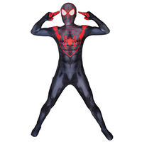 Ultimate Miles Morales Spiderman Costume Cosplay Halloween Spider man Superhero Zentai Bodysuit For Adult/Kids