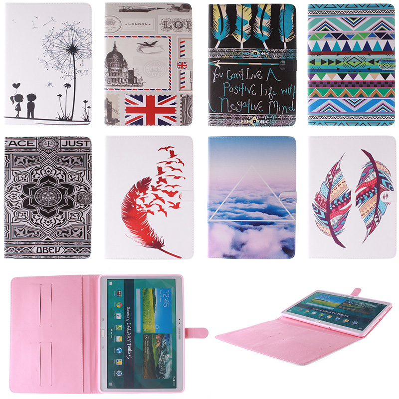 Fashion Feather Lotus Cloud Pattern PU Leather Flip Wallet Case For Samsung GALAXY Tab S 10.5 T800 T805C Back Cover Coque Funda