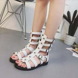 Woman Sandals 2018 Summer Roman Women mid-calf Cool boots Open Toe Casual Shoes Woman Fashion buckle flat Sandals  E599 4