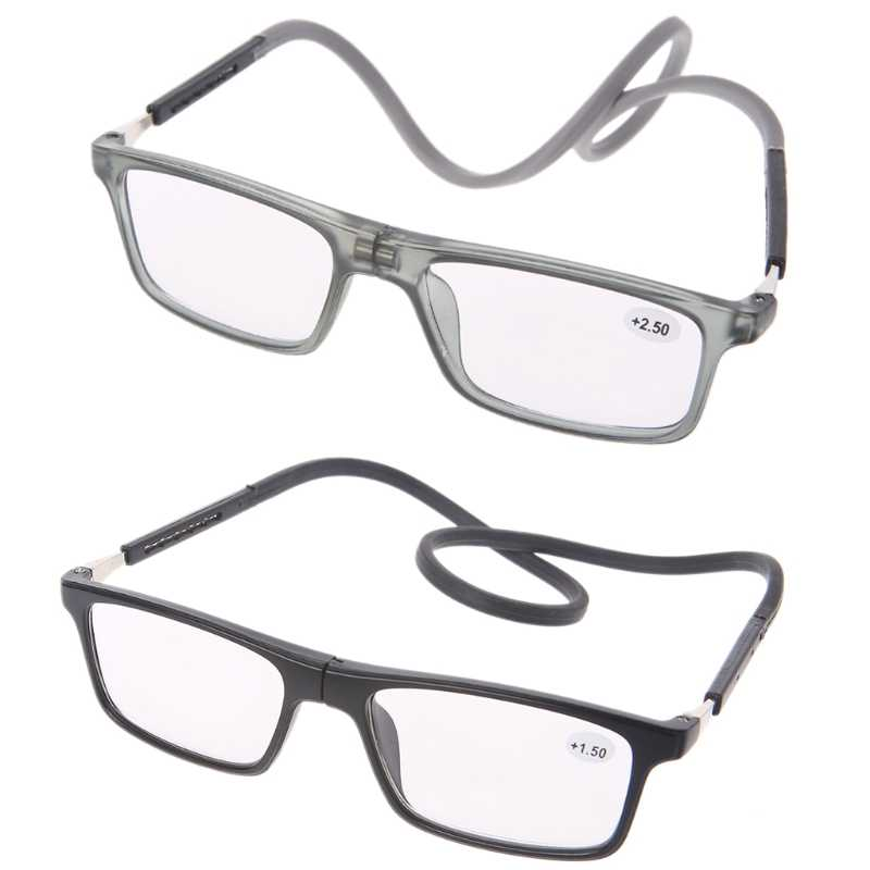 Portable Stylish Magnet Presbyopic Reading Glasses Adjustable Hanging Neck Unisex +1/+1.5/+2/+2.5/+3/+3.5/+4