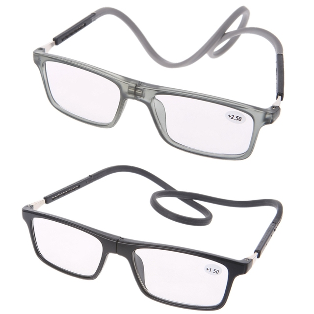 d304af9529 Portátil con estilo imán miopía gafas de lectura colgante ajustable Unisex  cuello + 1/+
