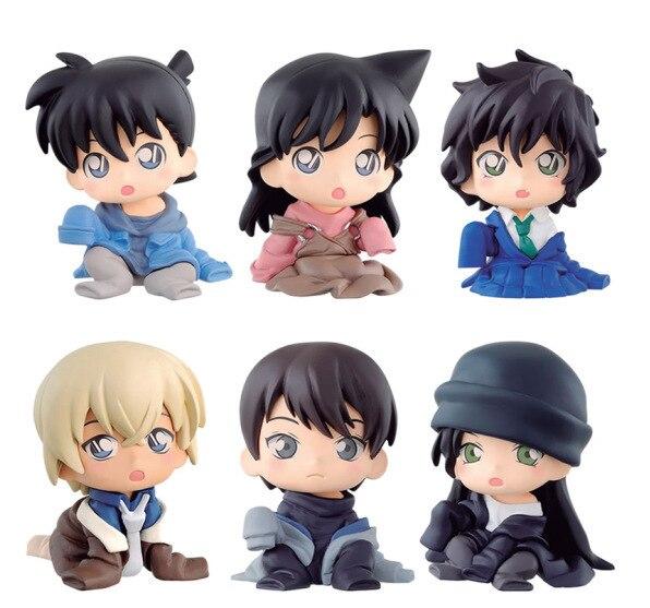 6pcs/set Edogawa anime figures Detective Conan cartoon action toys figrue dolls Furuya Rei Haibara Ai gift