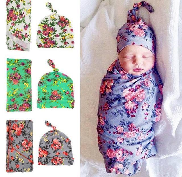 Varejo 2017 Bebê Recém-nascido Receber Cobertores Swaddling Cobertores de Algodão Floral Com Chapéu adereços Fotografia 90*90 cm PJ009