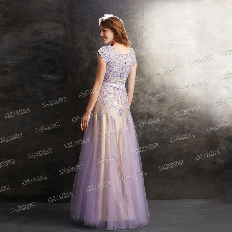 s 2016 new arrival stock maternity plus size bridal gown evening dress long  sexy Slim Short Sleeved Purple Lace 2398-in Evening Dresses from Weddings  ... a3398d05541c