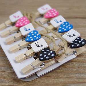 Lovely Heart Craft Wooden Banner Clips Wedding Decoration