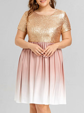 Women Elegant Sparkly Party Dresses Plus Size 5XL Sequined Ombre Dress  Casual O Neck Short Sleeves Midi Dresses Vestidos 9ff5b9b20605