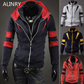 2017 New winter windproof hoodies men  4 colors cozy was thin jacket men outwear coat double zipper spell color sweateshirt
