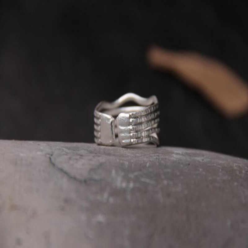 Bannyสีชมพูหรูหราแหวนเงินไทยสำหรับผู้หญิงก้อนหลายแถวS925แหวนเงินก้อนแหวนเงินตอกOpeingแหวน
