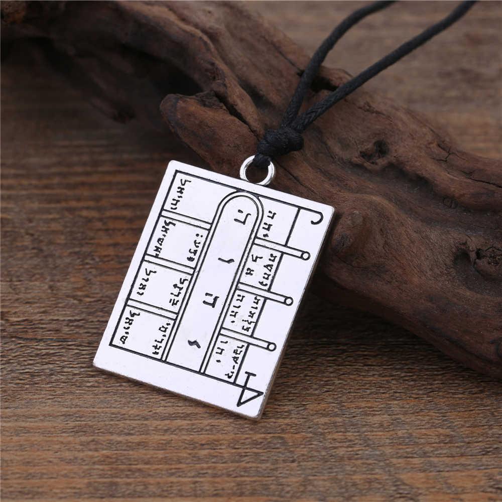Lemegeton Tailsman naszyjnik kwadratowy salomon pentagram runy otwarte drzwi Amulet Pagan Charms liny łańcuszek wisiorek naszyjniki