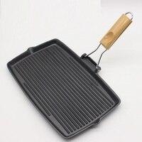 35CM Cast iron pan frying pan steak plate cast iron pan no coating fish frying pan pot