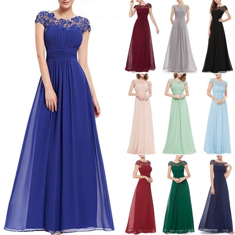 Long Tulle Lace Hollow Back Dress Elegant Bridesmaid Dress 2019 Elderly Wedding Party Ball Gown Vestido Elegant Clothing