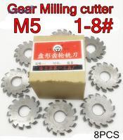 M5 Modulus PA20 graden NO.1-NO.8 8 stks/set HSS Versnelling frees Gear snijgereedschap Gratis verzending
