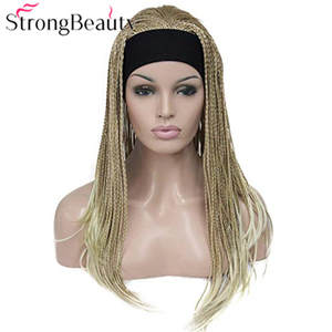 Strongbeauty Braided Wigs Headband Crochet-Hair Synthetic with Long