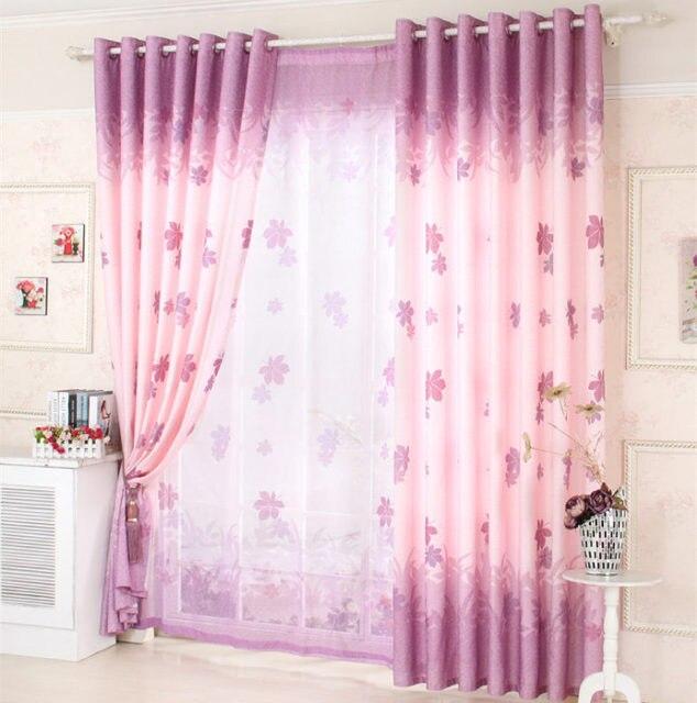 Hot pastoral brief purple curtain bedroom living room fresh tulle ...