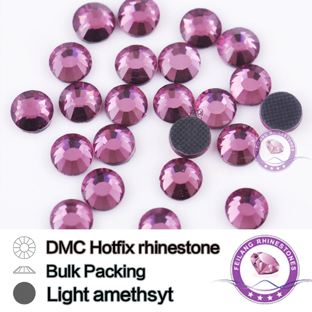 Light Amethyst Bulking Packing Flatback Crystal Glass HotFix Rhinestone For Garments Bags And Shoes Wedding Decoration