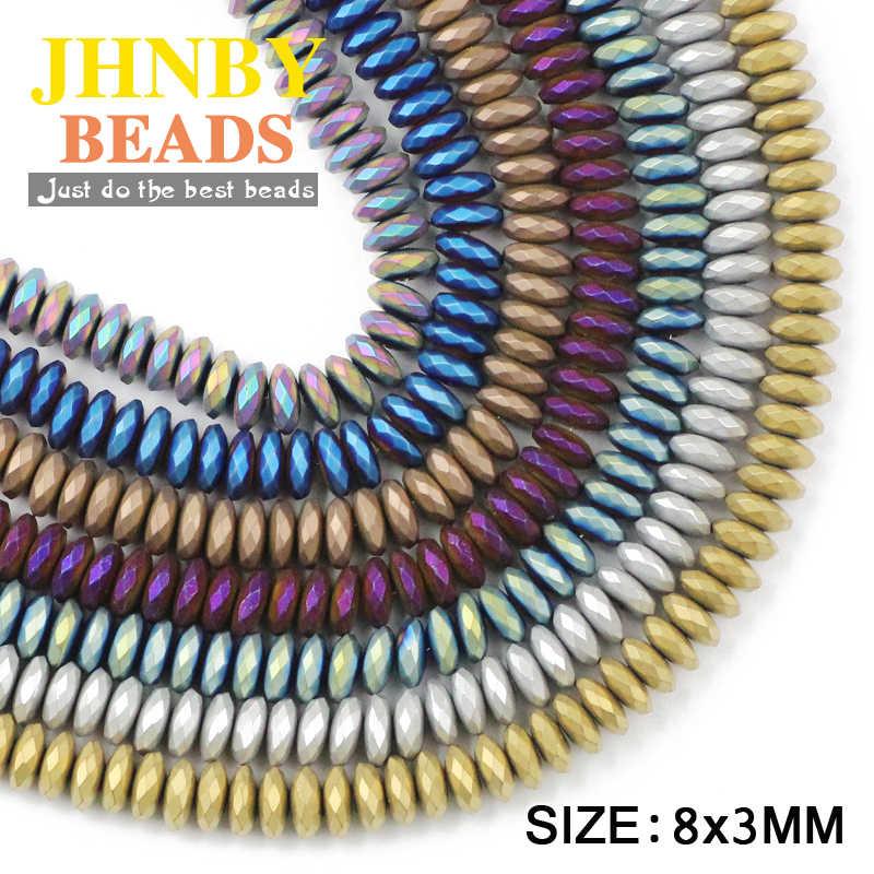 JHNBY מט שטוח פיאות המטיט 8x3mm 50pcs טבעי אבן עפרות זהב צבע עגול Loose חרוזים תכשיטי צמידי קבלת DIY