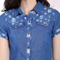 New 2015 Fashion Denim Shirts Patchwork Button Women Blouses Turn Down Collar Women Shirts Blouses 4 Color Short Sleeve Blouse