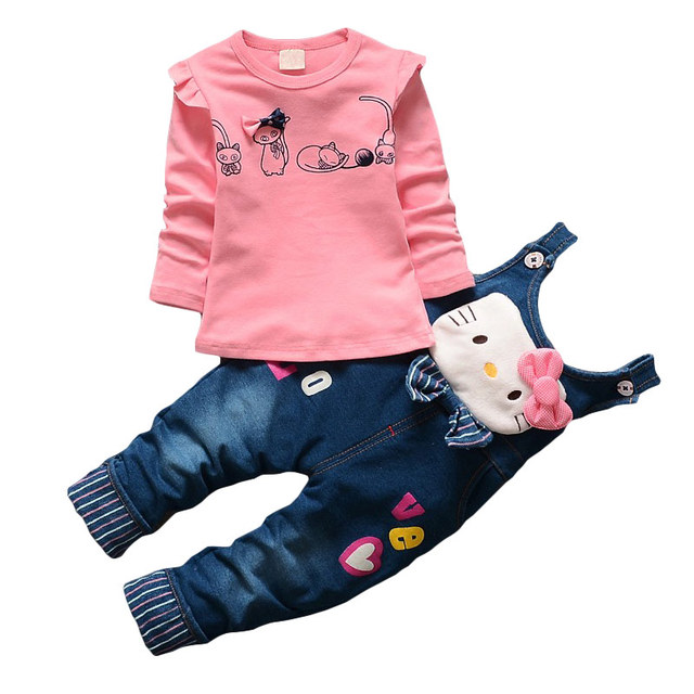 aefeac8b1 baby girls Hello Kitty & Mickey Minnie children jeans clothing sets cartoon  tops t shirt denim pants sport suit kids tracksuit