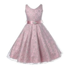 Summer Kid Girls Princess Party Wedding Dresses Diamond Belt Sleeveless V-Neck Flower Lace