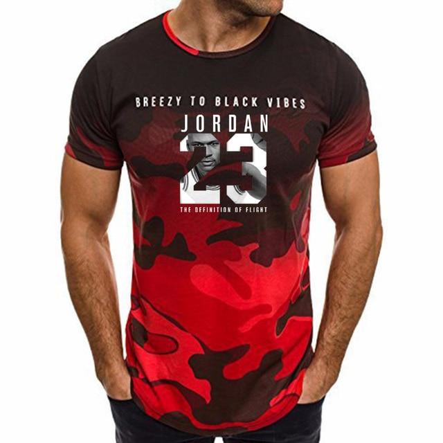 Verano oferta nueva camiseta Jordan 23 estampado hombres camuflaje Fitness  ejercicio camiseta Jordan 23 manga corta 60daf9ce800